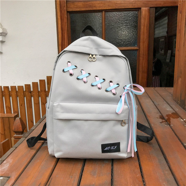 dcdf8b0953 Trendy Canvas backpack women travel 2018 Fashion Lace up School Bags for  teenage girls Large Capacity Ladies Rucksack Mochila