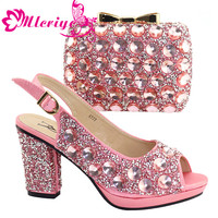 A777 PINK Italian Shoe with Matching Bags High Quality African Shoe and Bag Set for Party In Women Nigerian Shoes and Bag Set