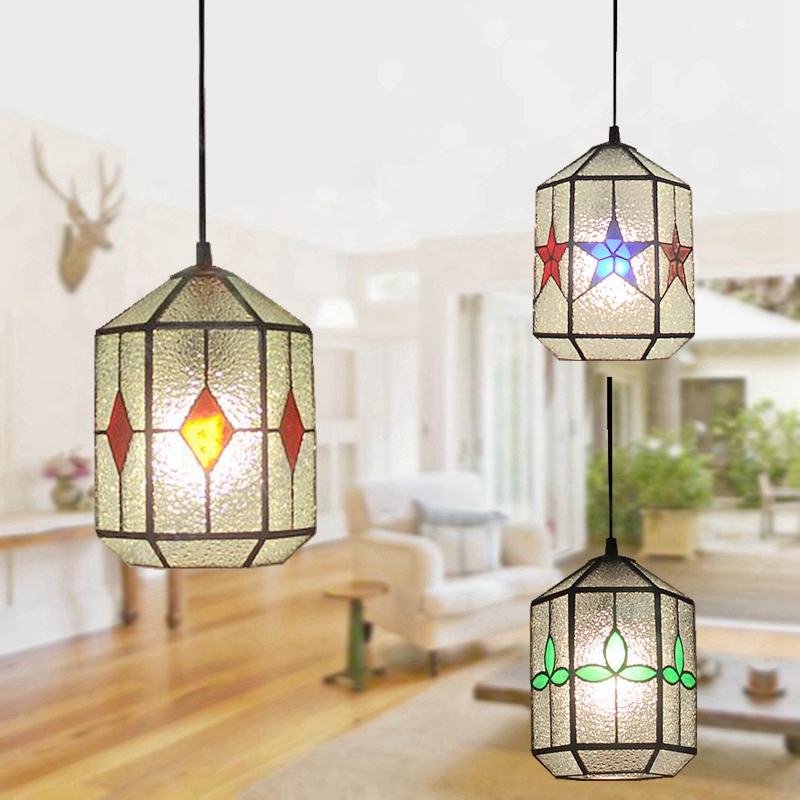 Free DeliveryThe The new clover pendant glass Piaochuang Tiffany bar creative personality corridor lamp simple modern lighting free deliverythe the new clover pendant glass piaochuang tiffany bar creative personality corridor lamp simple modern lighting