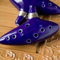 12 Hole Ceramic Alto C Legend of Zelda Ocarina Flute Blue Instrument With box TD001