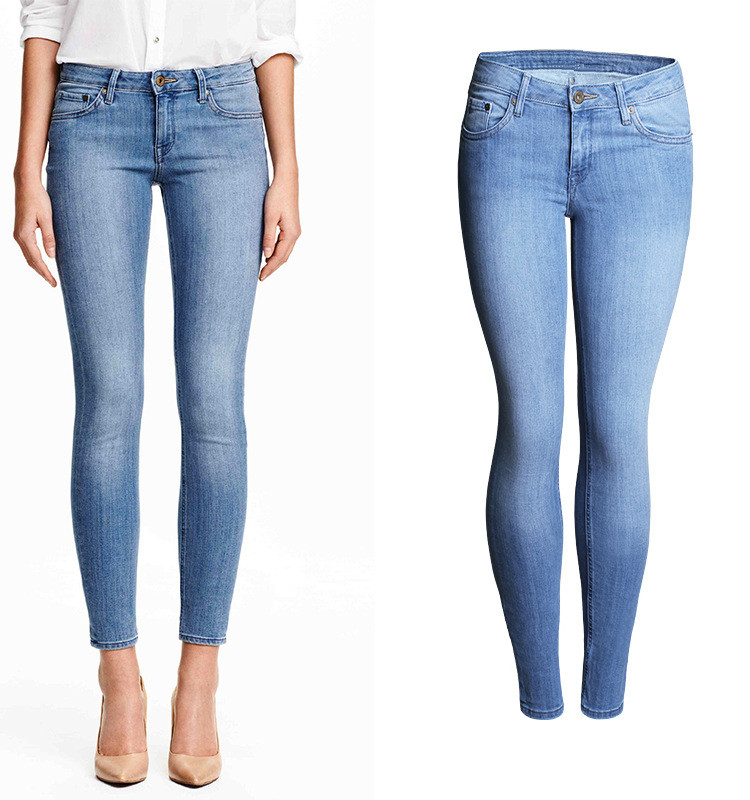 Women Low Waist   Jeans   Spring Summer Skinny Pencil   Jeans   Ladies Hips Super Elastic Stretch Ankle-Length Washed Blue Fashion   Jeans