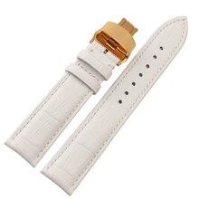 Accesorios de los relojes correa de cuero blanco con oro amarillo hebilla de implementación de alta calidad de cuero de vaca para horas 14 mm 16 mm 18 mm