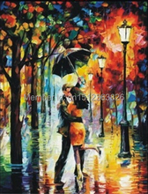 Hot kissing Rain Lovers!  Modern Impressionist Thick Knife Oil Painting on Canvas 100% Hand Painted Home Decoration Picture 1P15