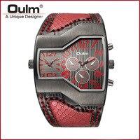 Oulm Brand Watch Men Personalized Designed Fashion Mens Watches Antique 2 Time Zone Quartz Wristwatches Irregular