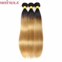 Hoa hậu Rola Tóc Pre-màu Ombre Sản Phẩm Brazil Thẳng 3 Bó Sợi Tóc Người Bó T/1b Màu Vàng Nhạt màu Tóc Phi-remy
