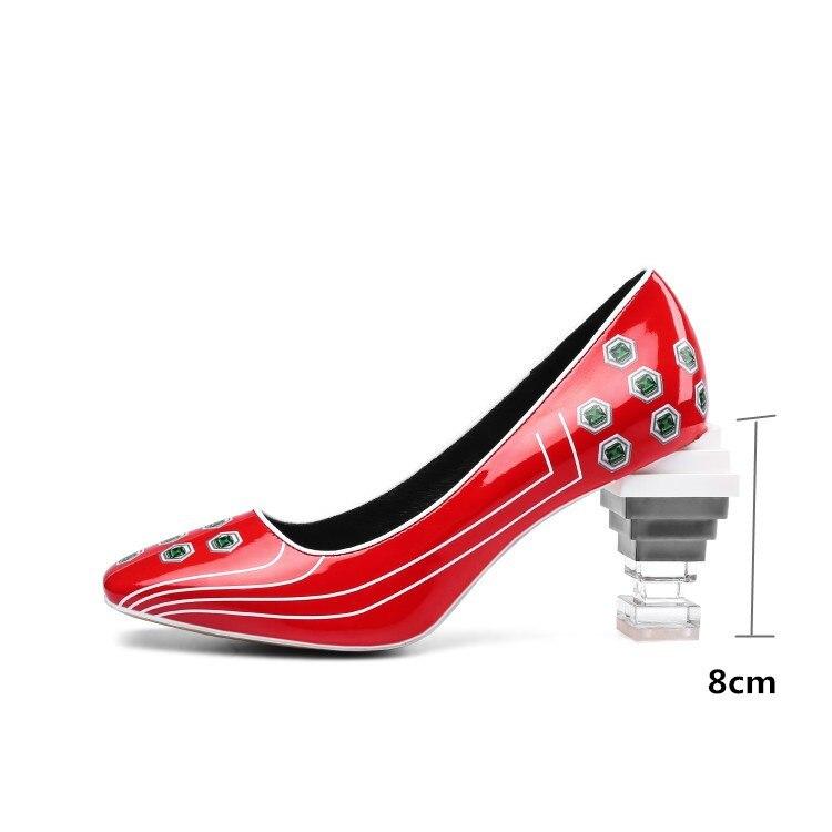 Imprimer Taille Nouveauté Cristal À Étrange New Femmes Designer Véritable Haute Pompes Cuir Chaussures rouge Plus De Brevet En Partie bleu Pxelena Talons 3d Noir Brand wx6Uf1