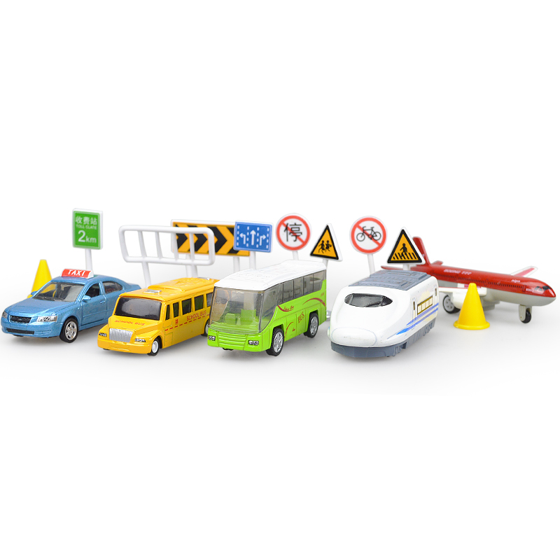 Alloy city traffic fire rescue car aircraft package road map Christmas New Year gift Simulation toy car model for children