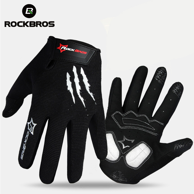 цена ROCKBROS Touch Screen Bike Bicycle Gloves Full Finger Tactical Cycling MTB Gloves Gel Padded Breathable Shockproof For Men Women