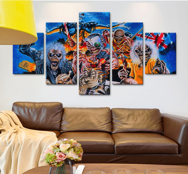 5 stücke Abstrakte Leinwand Kunst Modularen Bilder HD Iron Maiden ...