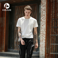 HZIJUE Ribbons T Shirt Men Fishnet Kanye T Shirt Men Inregular Length Off White Black Tee