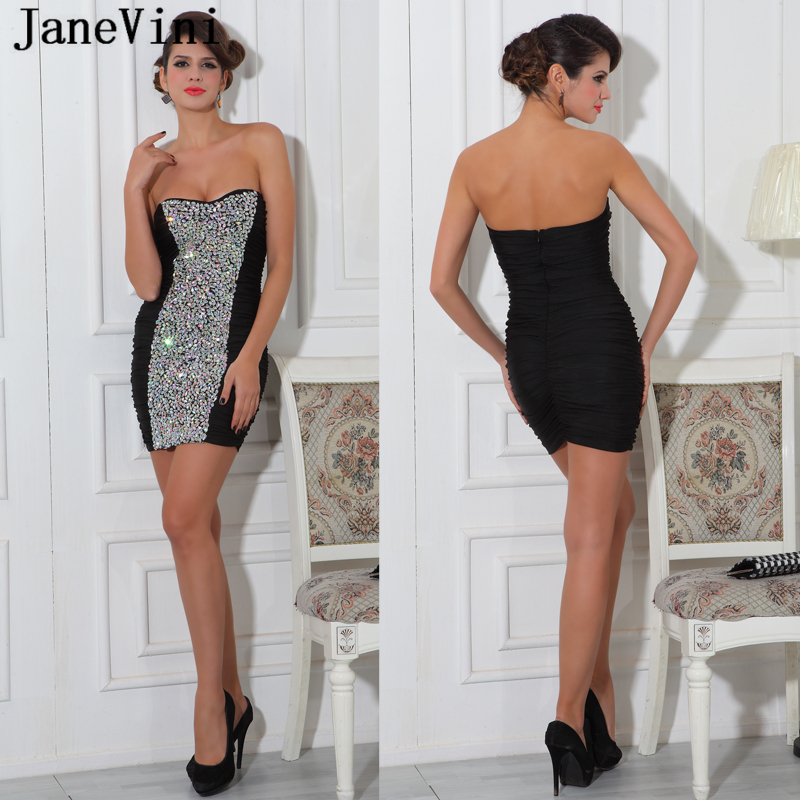 JaneVini Shiny Crystal Short Black Plus Size   Cocktail     Dresses   2019 Strapless Sexy Backless Spandex Mini Prom Gowns Robe   Cocktail