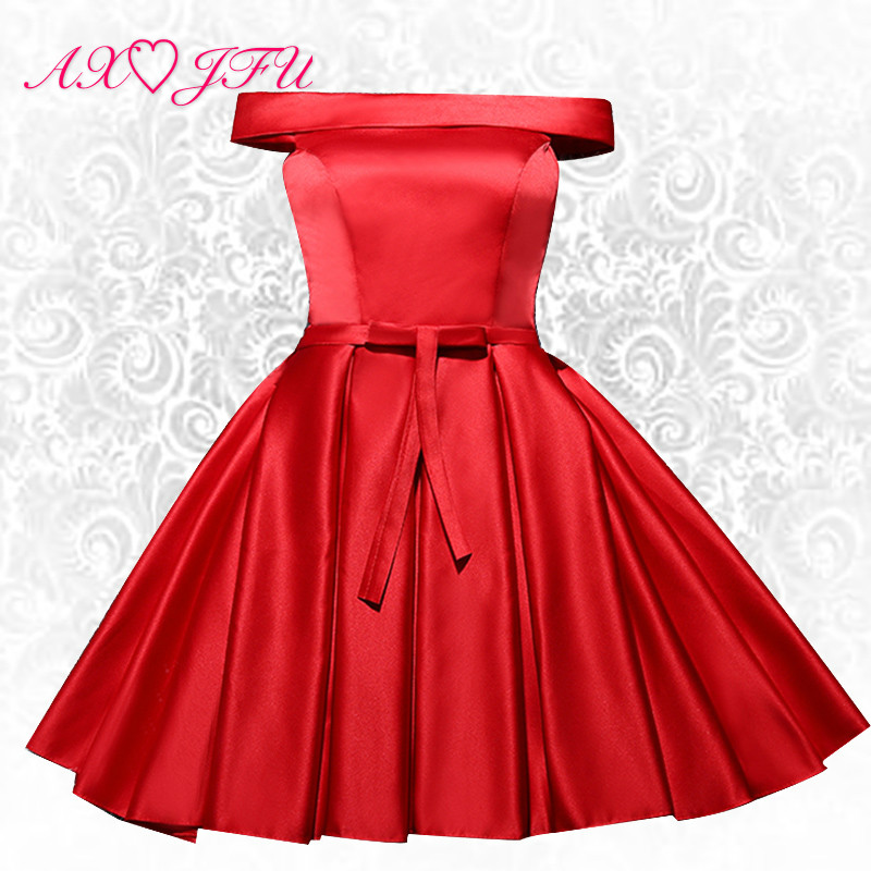 AXJFU champagne evening dress short sisters red evening dress hostess annual meeting banquet red evening dress(China)