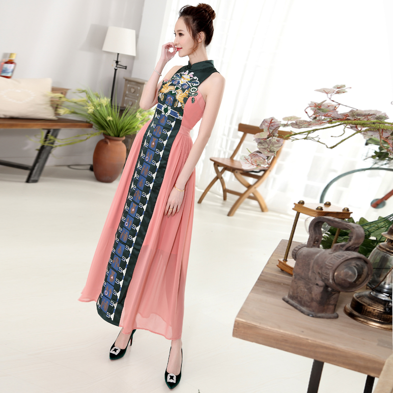 High quality 2019 summer new fashion runway women maxi dress Stand collar Sleeveless Patchwork Cute Embroidery