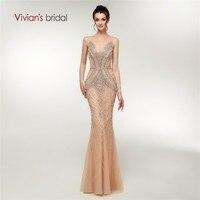Vivian's Bridal 2018 Illusion Mesh Crystal Pattern Stripe Women Evening Dress Side Hollow Out Grid Layout Luxury Formal Dress