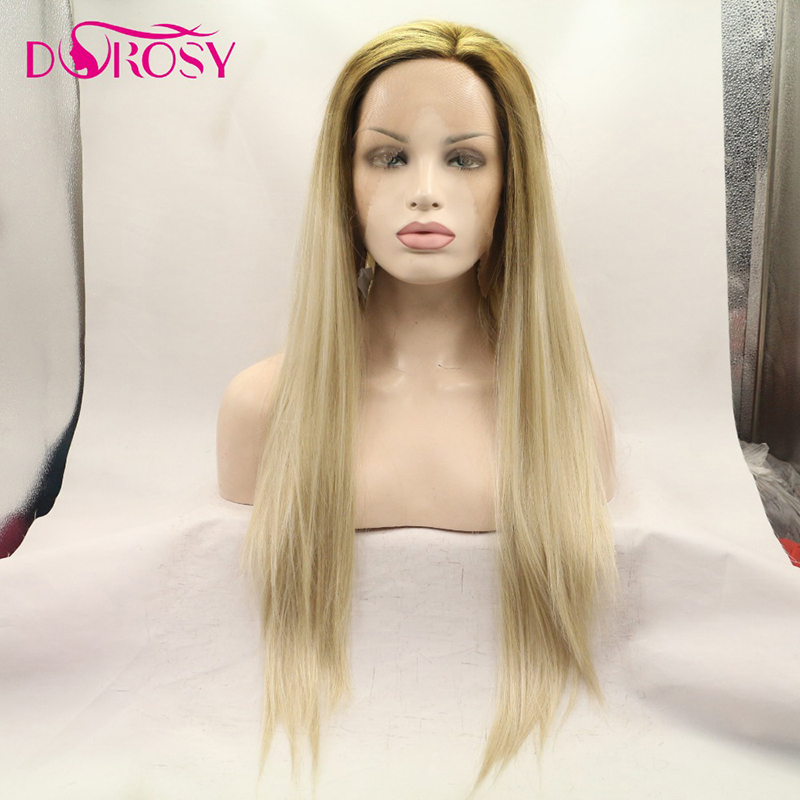 DOROSY HAIR High Temperature Fiber Perruque 613 Full Long Natural Straight Hair Wigs Synthetic Lace Front