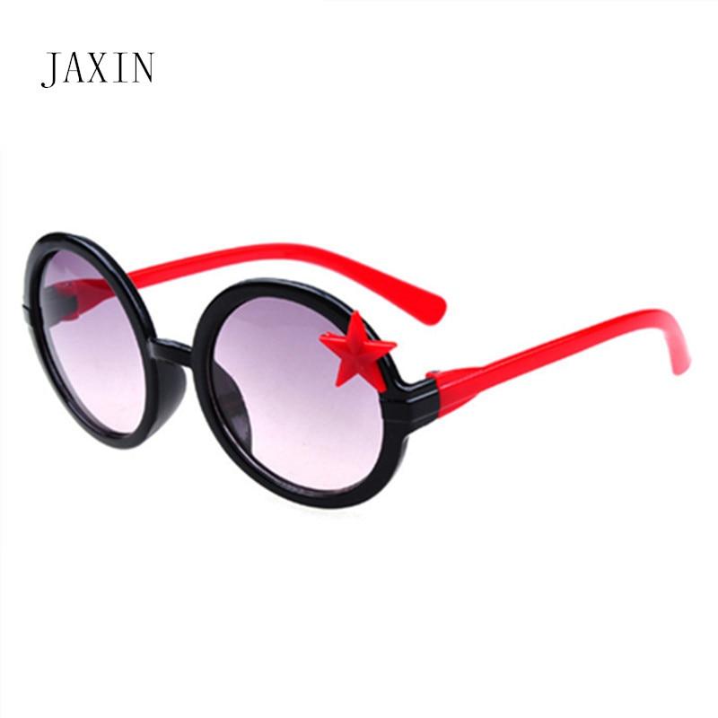 JAXIN Fashion stars round Kids Sunglasses Baby shiny colorful frame Boy Girl Glasses cute trend new goggles UV400