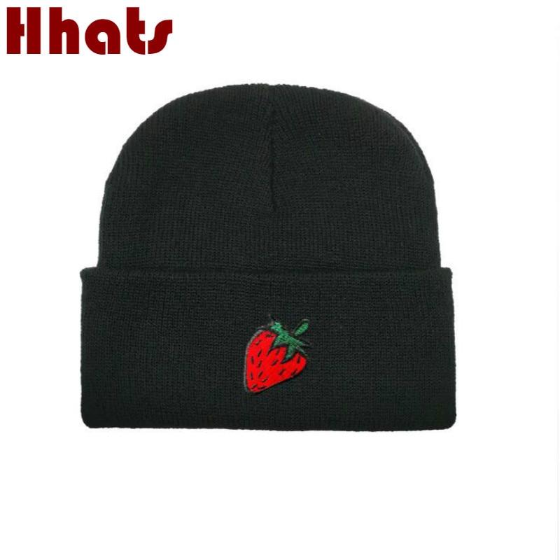 Strawberry Knitted Hat Man Winter   Skullies     Beanie   Hip Hop Autumn Men Hat Fashion Kpop Winter Warm Ski Hat Bonnet Drop Shipping