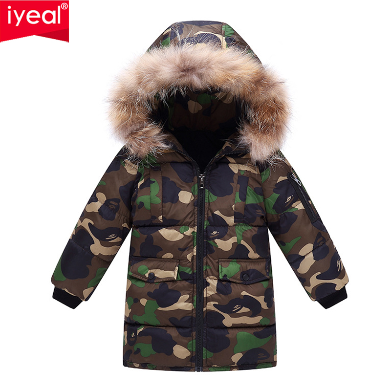 IYEAL New Boys Parkas Jackets Winter Jacket For Boy Children Down Cotton Coat Russian For Kids Hooded Camouflage Jacket Outwear цена