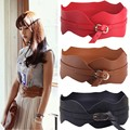 New Womens Girls Metal Buckle Irregular PU Leather Wide Waist Belt Waistband