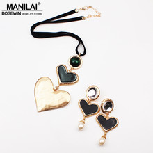 MANILAI ZA Fashion Jewelry Sets For Women Big Heart Long Pendant Necklaces Sets With Earrings Vintage Statement Party Set 2019(China)