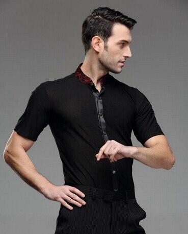 Picture of Man Summer Latin Dance Wear Samba Modern Dance Leotard Clothes Male Latin Dance Clothes Adult Top Short-Sleeve Square Dance