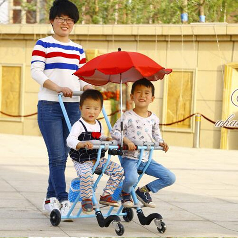 Baby Stroller for Twins Folding Triciclo Infantil Portable Double Pram Children Tricycle Bike Carriage folding twins baby stroller light weight portable european baby carriage double directions travel pram