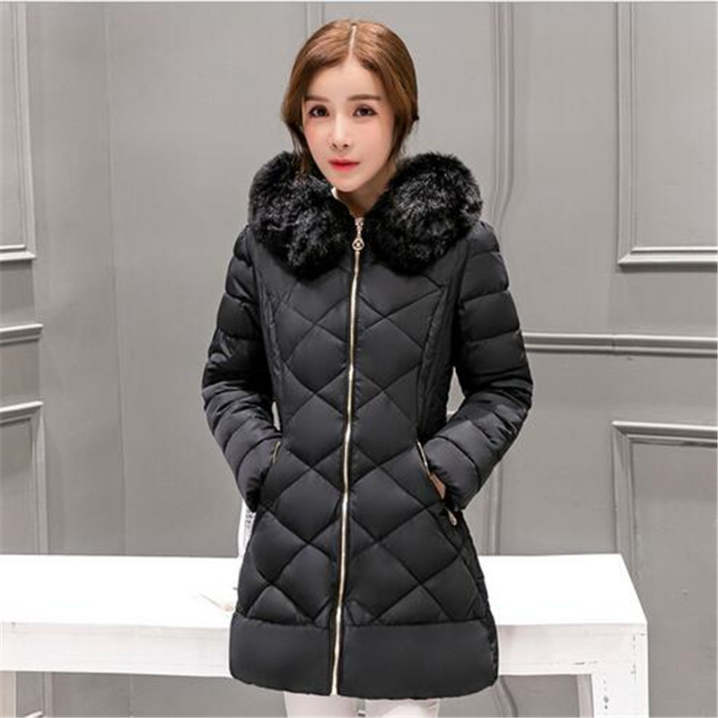 2016 Winter Women Down cotton padded jacket Medium long Thicken Hooded Fur collar Cultivate one s