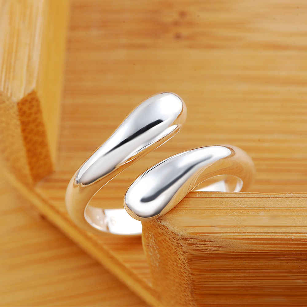 Free shipping silver color for women men Charm fashion Hot Sell smooth Drop open Ring jewelry Lowest Factory Price  R12
