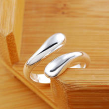 Free shipping silver color for women men Charm fashion Hot Sell smooth Drop open Ring jewelry Lowest Factory Price R12(China)