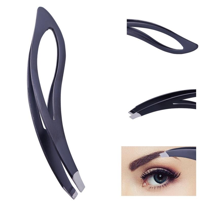 1PC Hot Sale Eyebrow Tweezers Stainless Steel Slanted Flat Point Tip Hair Removal  Professional Eye Brow Tweezers Cilp Beauty