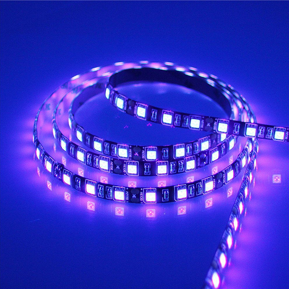 5M SMD 2835 3528 5050 Black White PCB <font><b>UV</b></font> Purple <font><b>LED</b></font> <font><b>Strip</b></font> light DC 12V 60Leds/m 120Leds/m Ultraviolet Ray <font><b>LED</b></font> Tape Ribbon Lamp image