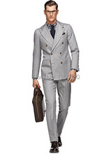 HOT SELLING 100% wool Hand made light grey 2 pieces(jacket+pants) double 6 buttons wide peak lapel business suit