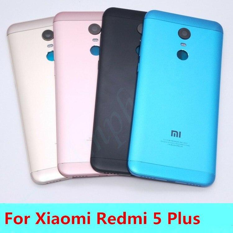 Neue Für Xiaomi Redmi 5 Plus (MEE7) Ersatzteile Zurück Batterieabdeckung Tür Gehäuse + Seitlichen Tasten + Kamera Blitz Objektiv Ersatz