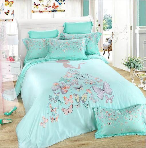 HOT Sale Light Green Butterfly Fairy Girl 100% Natural Tencel SILK 4pcs  Bedding Set Bed Linen Comforter/duvet Cover Kit/B3536