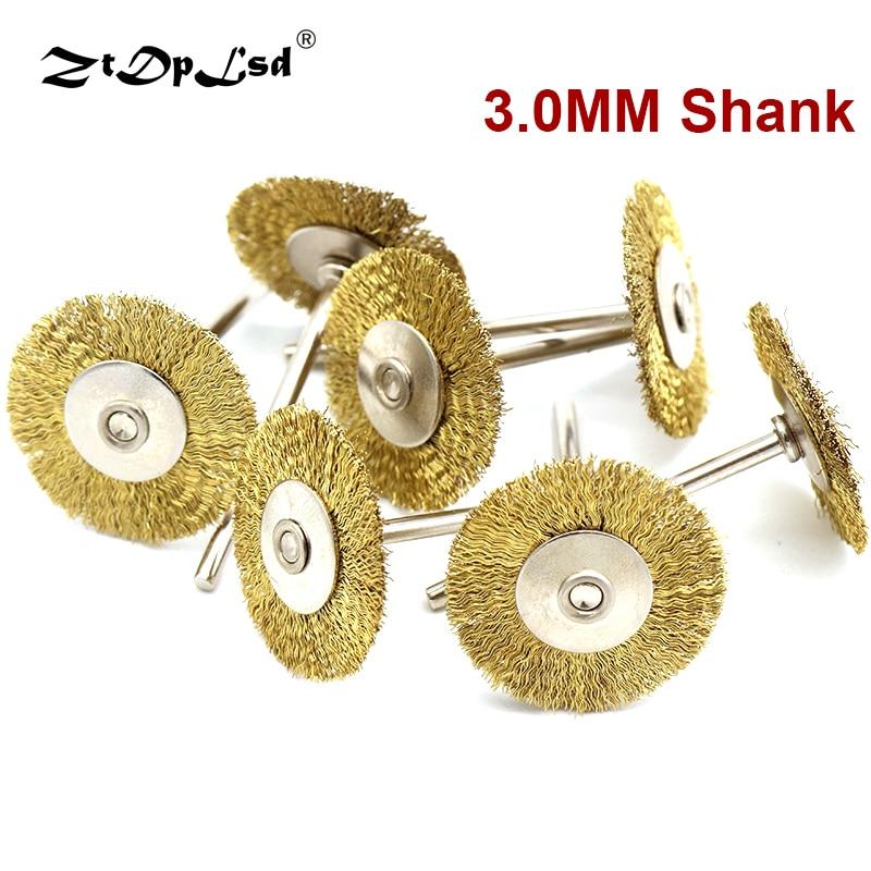 ZtDpLsd 6pcs T Type 3.0mm Shank Copper Plated Brass Wire Wheel Brush Mini Drill  For Dremel Rotary Tools Polishing Brushes 25mm
