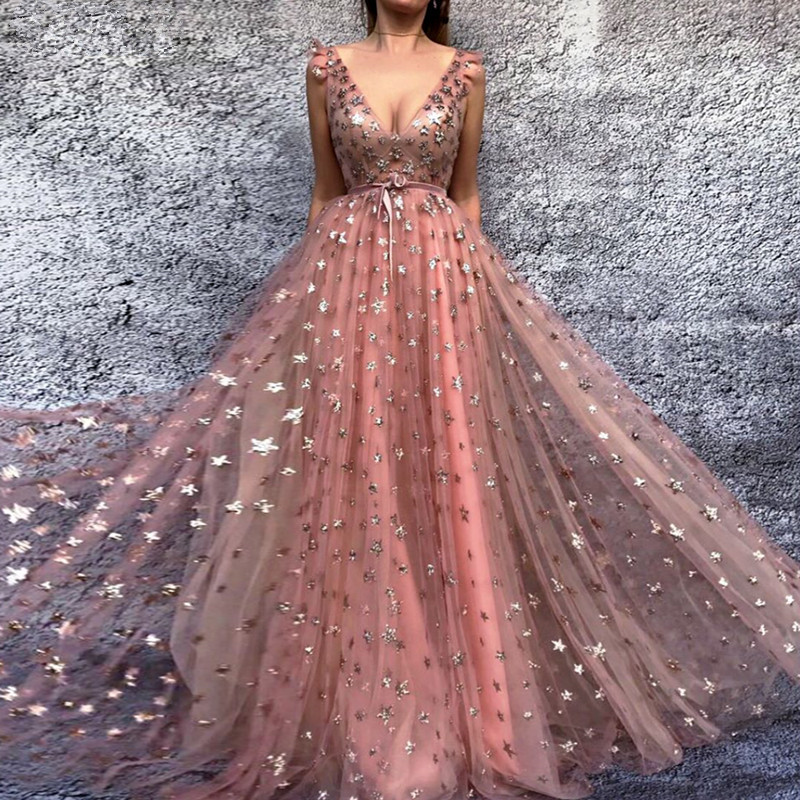 Pink Muslim   Evening     Dresses   2019 A-line Deep V-neck Tulle Elegant Islamic Dubai Saudi Arabic Long Formal   Evening   Gown Prom   Dress