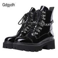 Gdgydh Patent Leder Frauen Damen Doc Stiefeletten Mid Ferse Spitze Bis Arbeiter Armee Schwarz Goth Schuhe Herbst Sexy Kette hohe Qualität