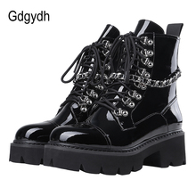Gdgydh Patent deri bayan bayanlar yarım çizmeler orta topuk Lace Up işçi ordu siyah Goth ayakkabı sonbahar seksi zinciri yüksek kalite
