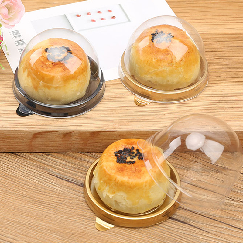50 Pcs Mini Round Moon Cake Container Trays Packaging Box Holder Wedding Party Favor Boxes 50g Mooncake Egg-Yolk Puff Holders