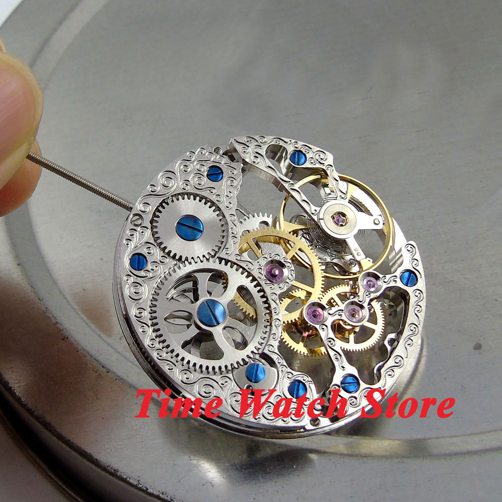 17 Jewels silver Asian Full Skeleton fit men's watch 6497 Hand-Winding movement M5 цена и фото
