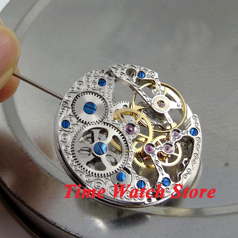 17 Juwelen Silber Asian Volle Skeleton Fit Herren Uhr 6497 Hand-wicklung Bewegung M5 Offensichtlicher Effekt