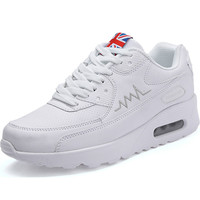 Air Cushion Women's Sneakers Women Leather Running Shoes Women's White Woman Sport Shoes Female Sports Shoes Gym T14