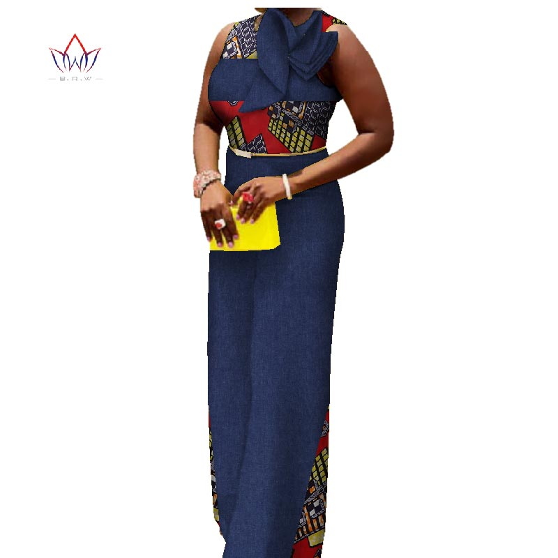 African Women Jumpersuit With Print Sexy Overalls Women Jumpsuit Elegant O-neck dashiki Pants Plus Size Sleeveless 6xl WY2739