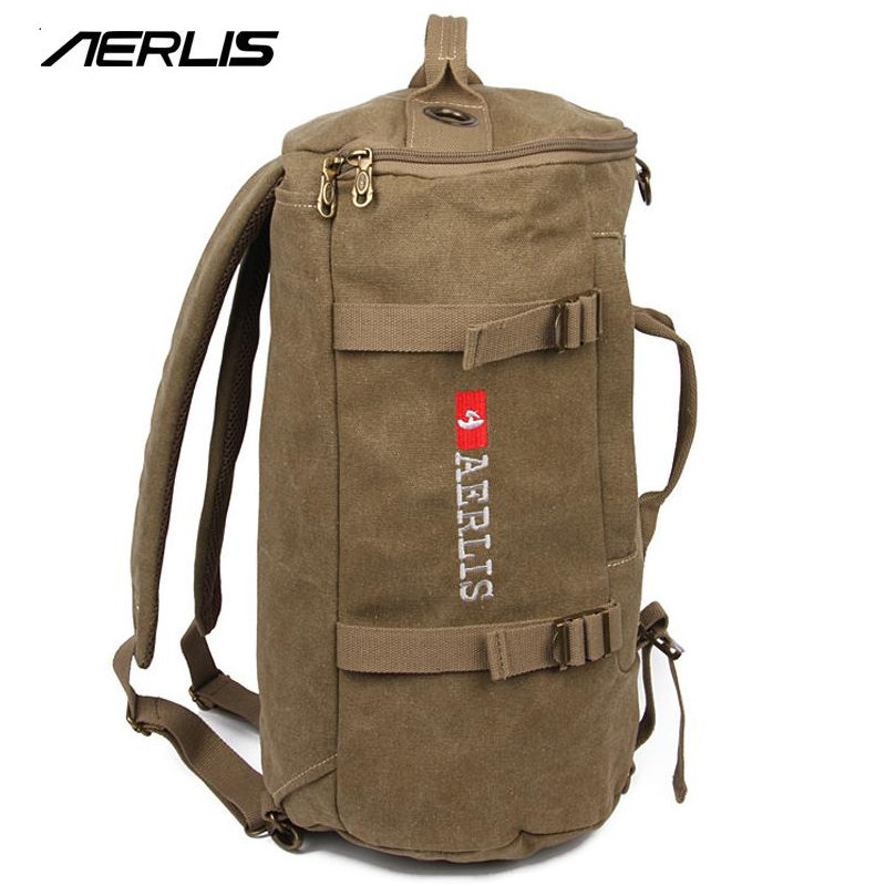 AERLIS Korean canvas backpack bucket bag for travel travel rucksack shoulder bags leisure college new I5703