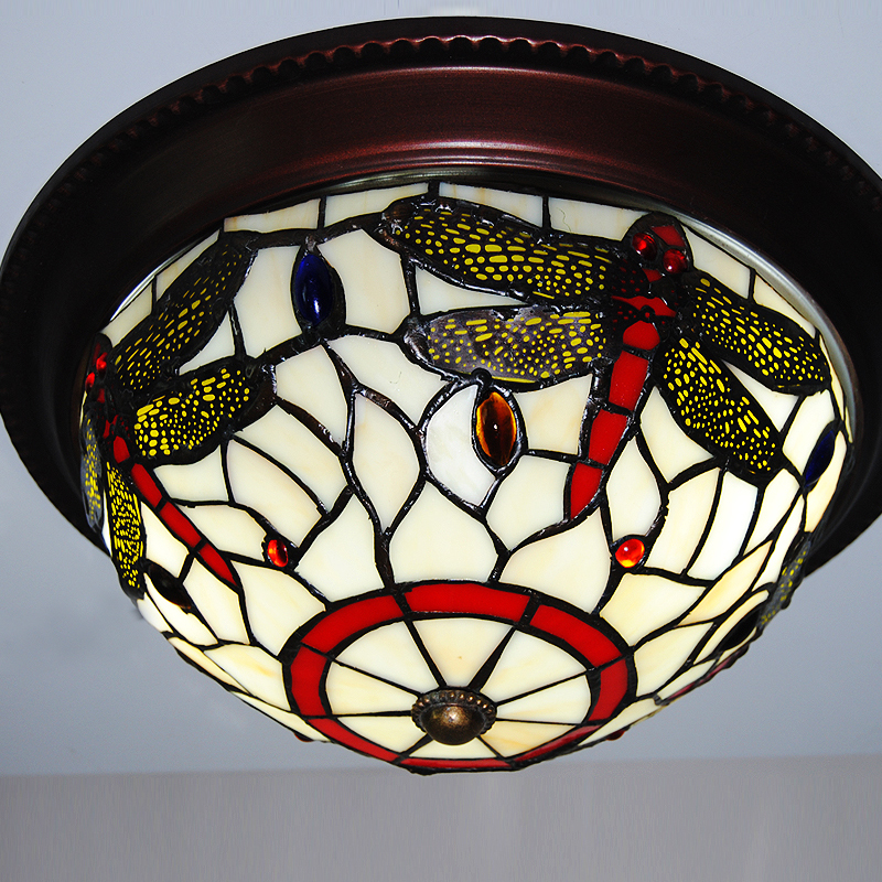 10 inch European Country Vintage Dragonfly Glass Shade Ceiling light lamp indoor lighting Flush mounted