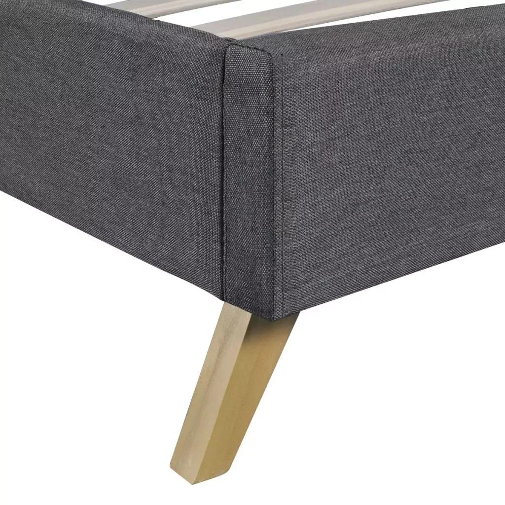 VidaXL bois de lit gris foncé avec rembourrage en tissu lit intérieur élégant et robuste MDF + lattes en contreplaqué + pieds en bois de peuplier - 4