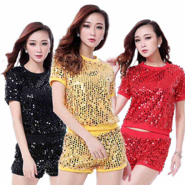 039ca535e019 Attractive Hip Hop Girls Sequin Two Piece Sets Sex Red Crop Top and Very  Mini Shorts Two Piece Night Club Wear Dancing Outfits