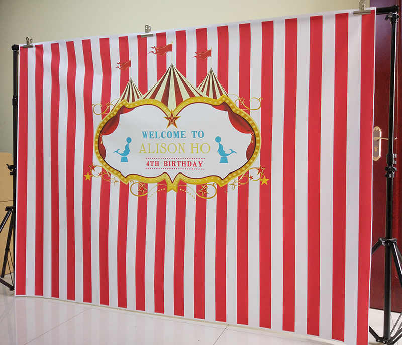 6895d6b523f91 ... newborn birthday backdrop red stripe party decor baby shower circus  dessert table banner photography background customize ...