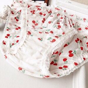 Image 5 - Wriufred kiraz baskılı pamuklu kız kalp öğrenci sutyen seti tel ücretsiz yumuşak fincan iç çamaşırı büyük toplanan tüp üst iç çamaşırı setleri