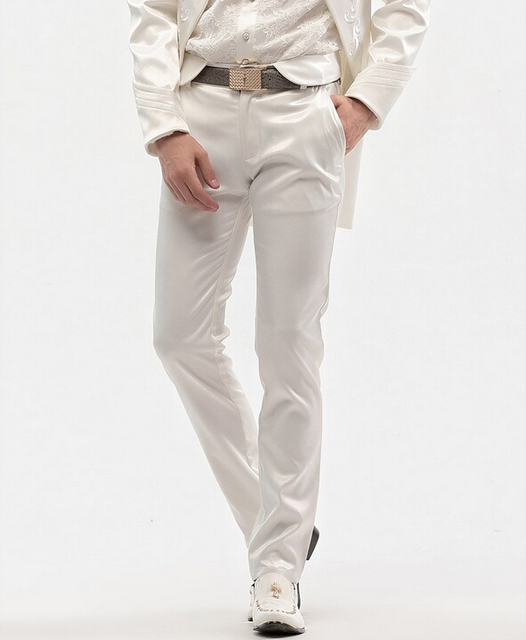Free Shipping New fashion male trousers men's casual Slim 2015 spring straight white tuxedo pants long wedding14856 custom-made